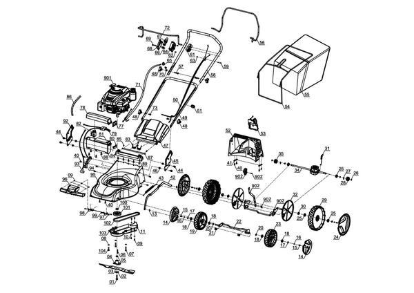 Spareparts Petrol Lawn Mower GC-PM 46/2 S HW-E