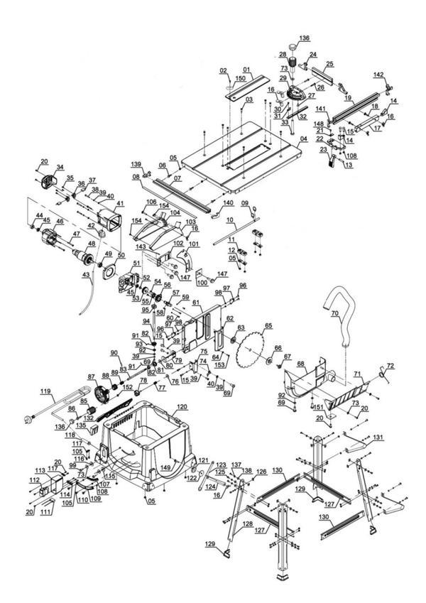 Tartalék alkatrészek Asztali körfűrész TC-TS 2025 eco