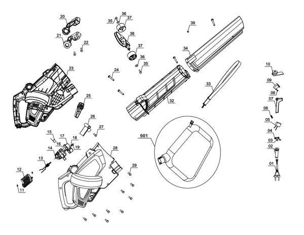 Ricambi Soffiatore/aspiratore per foglie elettrico GC-EL 2500 E