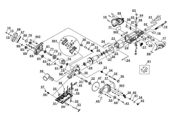 Tartalék alkatrészek Mini kézi körfűrész TC-CS 860/1 Kit