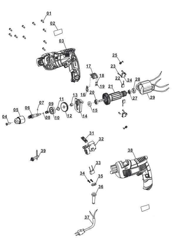 Ersatzteile Schlagbohrmaschine TC-ID 1000 E