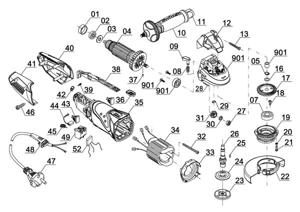 Ersatzteile Winkelschleifer TE-AG 115