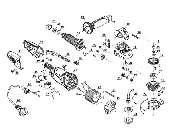 Ersatzteile Winkelschleifer TE-AG 125/750 Kit