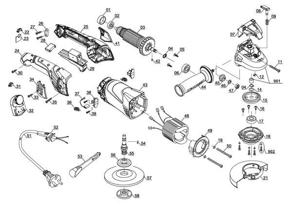Ersatzteile Winkelschleifer TE-AG 125 CE