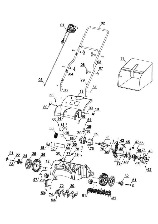 Ersatzteile Elektro-Vertikutierer-Lüfter GC-SA 1231