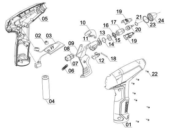 Ersatzteile Akku-Heißklebepistole TC-CG 3,6 Li