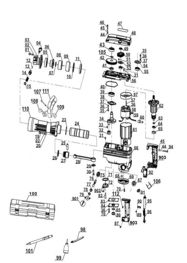 Refacciones Martillo demoledor BT-DH 1600