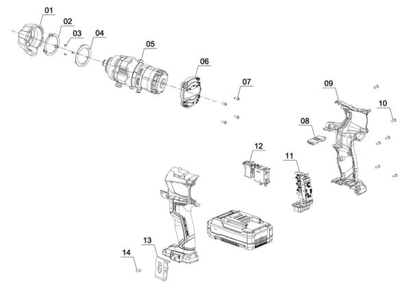 Spareparts Cordless Impact Driver TE-CI 18 Li Brushless-solo