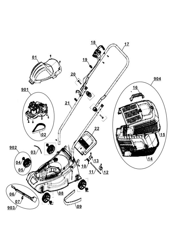 Ricambi Tagliaerba elettrico GC-EM 1030/1