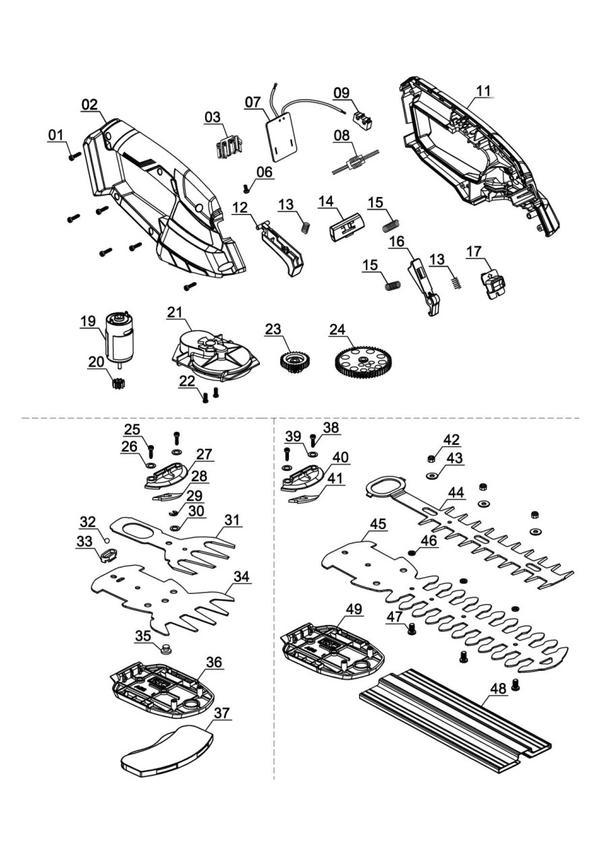 Ersatzteile Akku-Gras- und Strauchschere GE-CG 18 Li - Solo