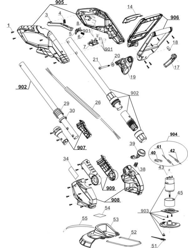 Ersatzteile Akku-Rasentrimmer GE-CT 18 Li - Solo