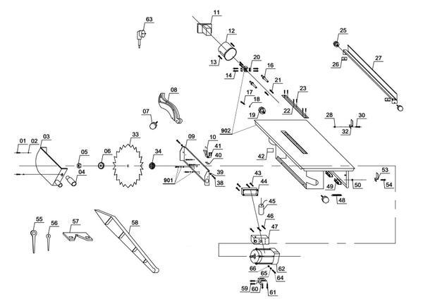Refacciones Mesa de corte TC-TS 820