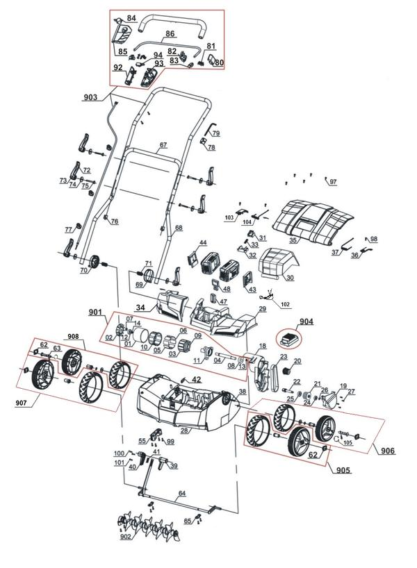 Ersatzteile Akku-Vertikutierer-Lüfter GE-SC 35/1 Li - Solo