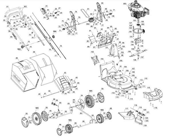 Refacciones Masina de tuns iarba cu motor termic GE-PM 53 VS HW B&S