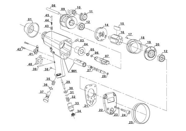 Refacciones Llave de impacto (neumático) DSS 260/2