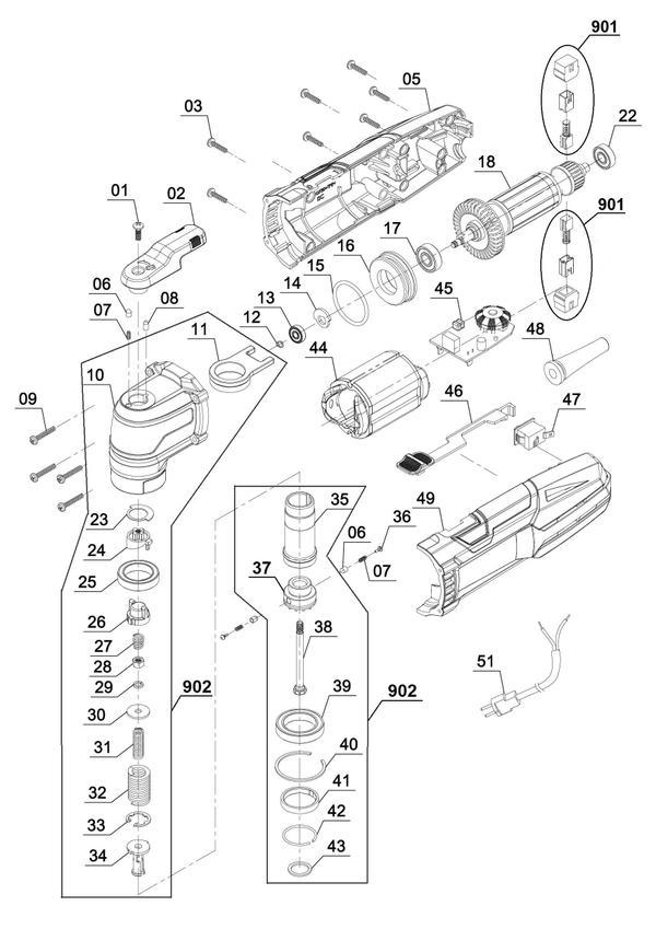 Ersatzteile Multifunktionswerkzeug TE-MG 300 EQ