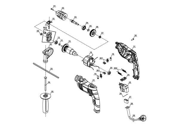 Ersatzteile Schlagbohrmaschine TC-ID 550 E