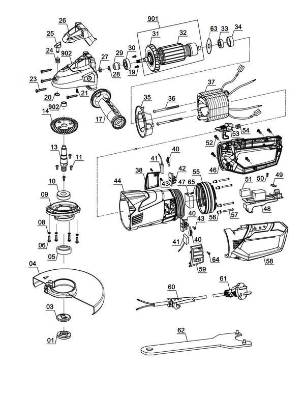 Tartalék alkatrészek Sarokcsiszoló TE-AG 230