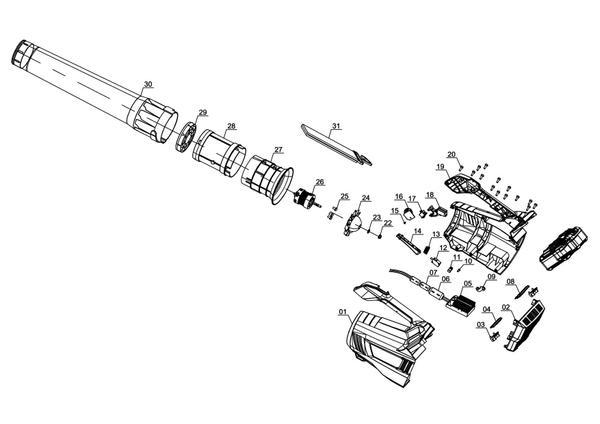 Ersatzteile Akku-Laubbläser GE-LB 36 Li E - Solo