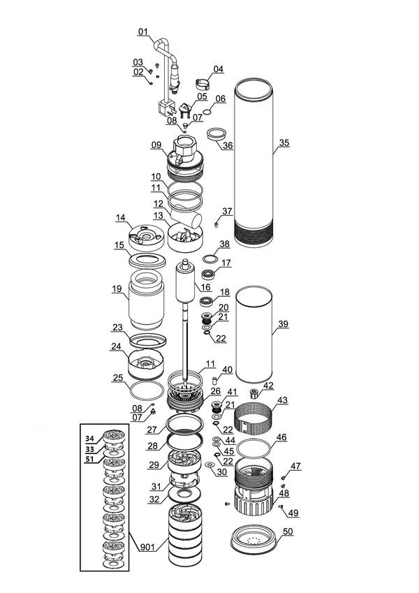 Refacciones Pompa mare adancime GC-DW 1000 N