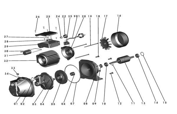 Refacciones Pompa gradina GC-GP 6036