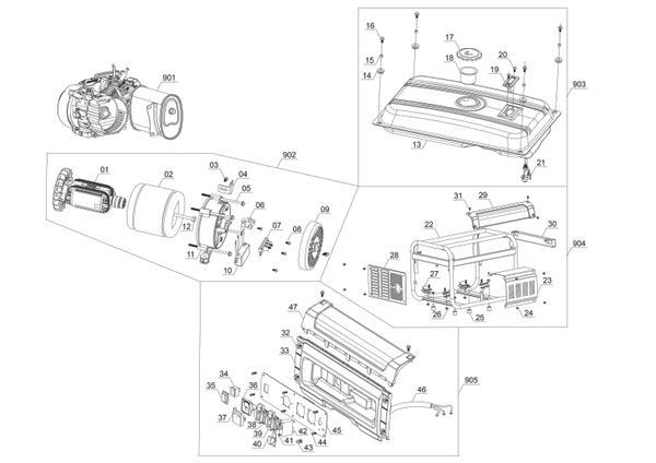 Tartalék alkatrészek Áramfejlesztő (benzines) TC-PG 2500