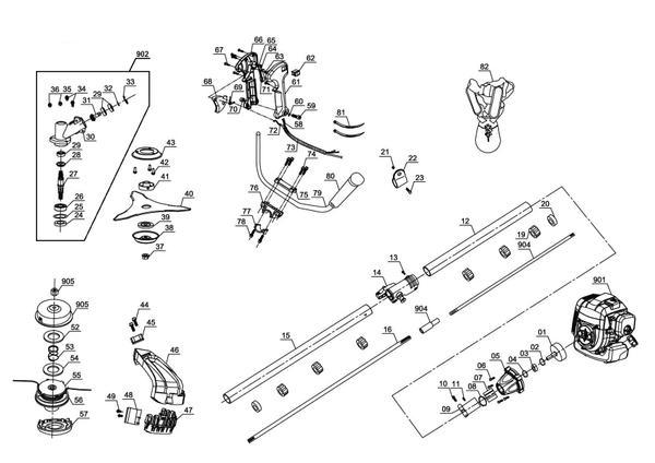 Ricambi Decespugliatore a scoppio GC-BC 52 I AS