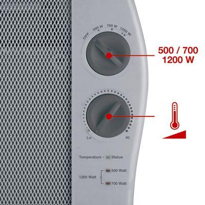 Mica-Heizelement bis 2000 Watt, Zeitschaltuhr, Thermostat,  Fernbedienung, Frost- und Kippschutz, LCD-Display Einhell W/ärmewellenheizung WW 2000 R